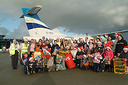 SANTA ARRIVES IN HIS KINGDOM....<br />Aer Arann got Christmas off to a flying start for Our LadyÕs Hospital Crumlin, this weekend when it flew 30 children from the hospital on its annual trip to SantaÕs Grotto in the North Pole of County Kerry!  <br />Pictured enjoying the afternoon packed with fun and entertainment at a truly magical SantaÕs Grotto at Kerry Airport.<br />Picture by Don MacMonagle<br />PR picture from Aer Arann