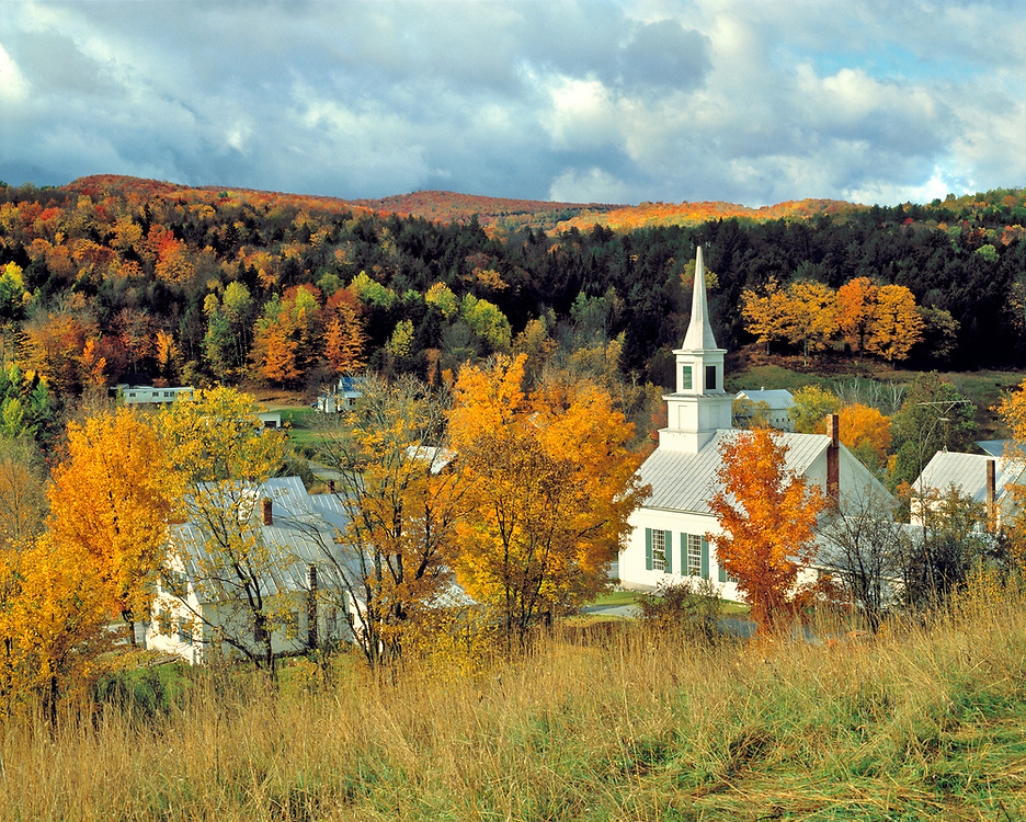 An overview of the quaint, fall-tickled village of Waits River, in Vermont.