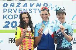 Second placed Ursa Pintar, winner Eugenija Bujak and third placed Spela Kern during Slovenian National Road Cycling Championships 2021, on June 20, 2021 in Koper / Capodistria, Slovenia. Photo by Vid Ponikvar / Sportida