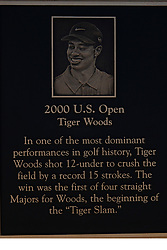 June 11, 2019 - Pebble Beach, CA, U.S. - PEBBLE BEACH, CA - JUNE 11: A plaque for PGA golfer Tiger Woods displayed near the practice putting green during a practice round for the 2019 US Open on June 11, 2019, at Pebble Beach Golf Links in Pebble Beach, CA. (Photo by Brian Spurlock/Icon Sportswire) (Credit Image: © Brian Spurlock/Icon SMI via ZUMA Press)