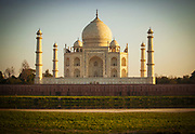 View of the Taj Mahal at sunset from across the river Yamuna in the Indian city of Agra
