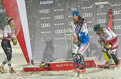 08.01.2019, Hermann Maier Weltcupstrecke, Flachau, AUT, FIS Weltcup Ski Alpin, Slalom, Damen, Siegerehrung, im Bild Mikaela Shiffrin (USA, zweiter Platz) Petra Vlhova (SVK, Siegerin) Katharina Liensberger (AUT, dritter Platz) // second place Mikaela Shiffrin of the USA winner Petra Vlhova of Slovakia third place Katharina Liensberger of Austria during the winner ceremonie of ladie's Slalom of FIS ski alpine world cup at the Hermann Maier Weltcupstrecke in Flachau, Austria on 2019/01/08. EXPA Pictures © 2019, PhotoCredit: EXPA/ Erich Spiess