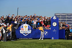 Team Europe's Rory McIlroy tees off the 10th during preview day four of the Ryder Cup at Le Golf National, Saint-Quentin-en-Yvelines, Paris. PRESS ASSOCIATION Photo. Picture date: Thursday September 27, 2018. See PA story GOLF Ryder. Photo credit should read: Gareth Fuller/PA Wire. RESTRICTIONS: Editorial use only. No commercial use.