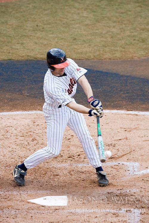 Virginia Cavaliers infielder Tyler Cannon (10) connects on a VMI pitch.  The Virginia Cavaliers Baseball Team defeated the Virginia Military Institute Keydets 5-3 at Davenport Field in Charlottesille, VA on February 27, 2007.