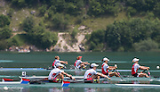 Aiguebelette, FRANCE.  USA W2x bow Meghan O'LEARY and Ellen TOMEK lead the A  Finals at the  .  13:25:05  Sunday  22/06/2014. [Mandatory Credit; Peter Spurrier/Intersport-images]