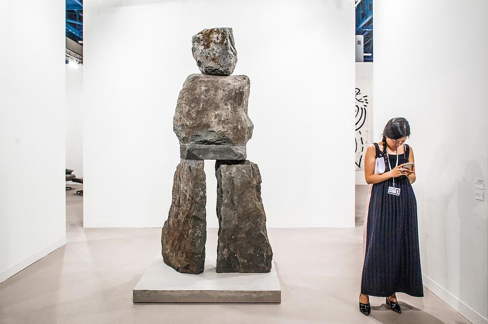 Masses of stone sculpture mimics human form at Art Basel Miami Beach 2015