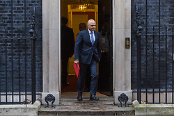 London - Secretary of State for Housing, Communities and Local Government Sajid Javid leaves the weekly meeting of the UK cabinet at Downing Street. January 23 2018.