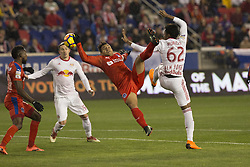 March 1, 2018 - Harrison, New Jersey, United States - Players of CD Olimpia of Honduras & New York Red Bulls fight for ball during 2018 CONCACAF Champions League round of 16 game at Red Bull arena, Red Bulls won 2 - 0  (Credit Image: © Lev Radin/Pacific Press via ZUMA Wire)