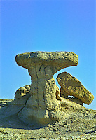 Toadstool formation found on Norbeck Ridge.  Badlands National Park.  South Dakota, USA