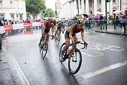 Amy Pieters (NED) of Boels-Dolmans Cycling Team leads the peloton in the seventh lap of the Prudential Ride London Classique - a 66 km road race, starting and finishing in London on July 29, 2017, in London, United Kingdom. (Photo by Balint Hamvas/Velofocus.com)