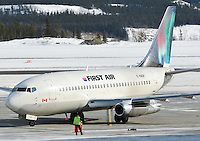 First Air 737-200 taxiing on the ramp in Whitehorse, Yukon