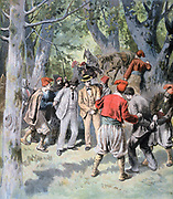French travellers captured by bandits in Sardinia and held to ransom. From 'Le Petit Journal', Paris, 20 August 1894.