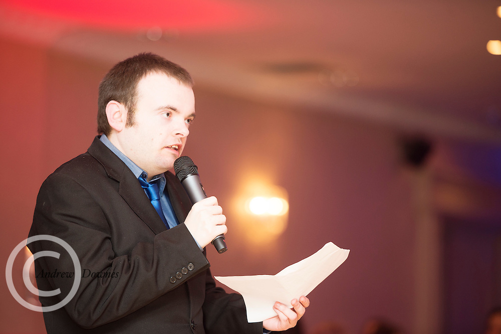 The Ability West Best Buddies Ball at the Menlo Park Hotel, Galway. Students from GMIT and NUIG buddy up with Ability West Service users for friendships that last a lifetime celebrated at this gala ball.<br /> Musicman  Stephen Joyce.  Photo:Andrew Downes, xposure.