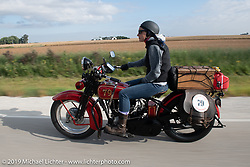 Land-speed record holder Jody Perewitz rode a 1926 Harley-Davidson JD she painted herself (no retro paint job here) on the Motorcycle Cannonball coast to coast vintage run. Stage 7 (274 miles) from Cedar Rapids to Spirit Lake, IA. Friday September 14, 2018. Photography ©2018 Michael Lichter.
