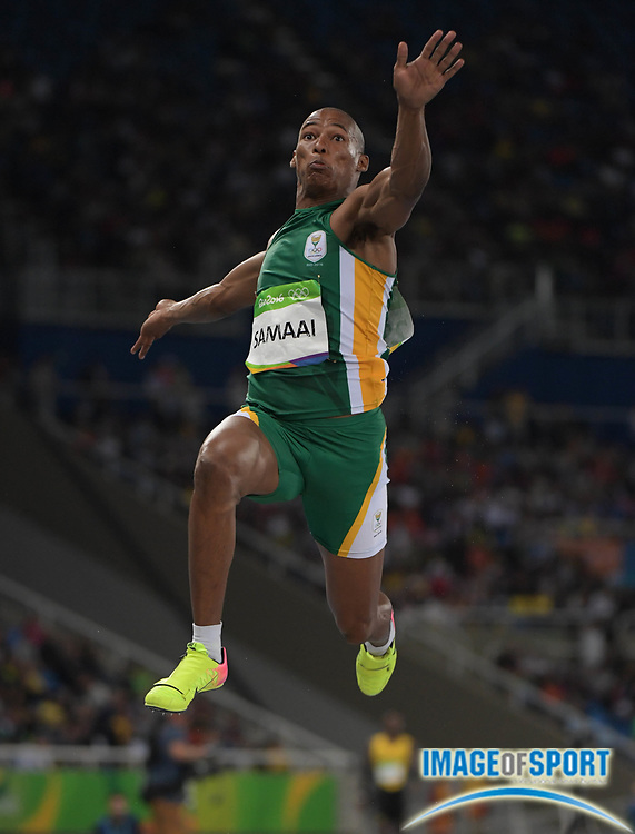 Aug 13, 2016; Rio de Janeiro, Brazil; Rushwal Samaai (RSA) competes in the men's long jump event at Estadio Olimpico Joao Havelange during the Rio 2016 Summer Olympic Games.