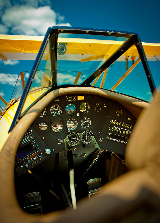 The cockpit of a WACO YMF-5C, owned by Steve Collins of Atlanta. <br /> <br /> Created by aviation photographer John Slemp of Aerographs Aviation Photography. Clients include Goodyear Aviation Tires, Phillips 66 Aviation Fuels, Smithsonian Air & Space magazine, and The Lindbergh Foundation.  Specialising in high end commercial aviation photography and the supply of aviation stock photography for advertising, corporate, and editorial use.