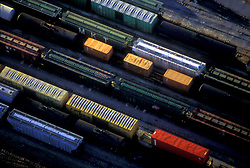 Aerial of Box Cars in Railyard