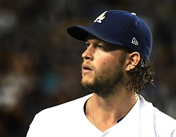 September 7, 2017 - Los Angeles, California, U.S. - Los Angeles Dodgers starting pitcher Clayton Kershaw walks off the mound in the second inning of a Major League baseball game against the Colorado Rockies at Dodger Stadium on Thursday, Sept. 07, 2017 in Los Angeles. (Photo by Keith Birmingham, Pasadena Star-News/SCNG) (Credit Image: © San Gabriel Valley Tribune via ZUMA Wire)