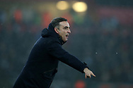 Swansea city manager Carlos Carvalhal shouts his instructions during the Premier league match, Swansea city v Tottenham Hotspur at the Liberty Stadium in Swansea, South Wales on Tuesday 2nd January 2018. <br /> pic by  Andrew Orchard, Andrew Orchard sports photography.