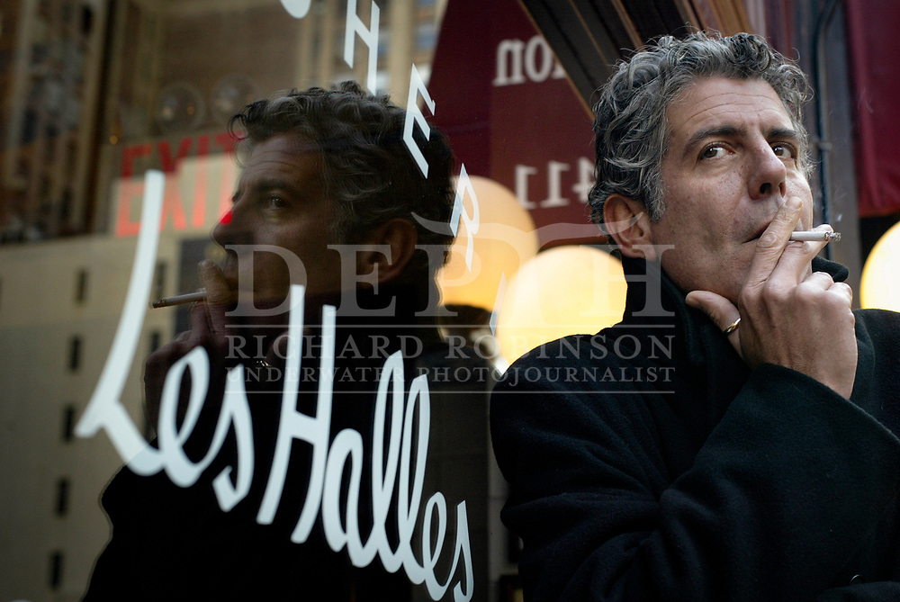Anthony Bourdain American celebrity chef and author outside Brasserie Les Halles -Park Ave South, New York.<br /> 2004 © New Zealand Herald A Division of NZME Publishing Limited.<br /> No Reproduction without prior written permission. Contact www.newspix.co.nz to licence photograph.