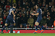 Edinson Cavani of Paris Saint-Germain ® celebrates after scoring his sides 1st goal. UEFA Champions league group A match, Arsenal v Paris Saint Germain at the Emirates Stadium in London on Wednesday 23rd November 2016.<br /> pic by John Patrick Fletcher, Andrew Orchard sports photography.