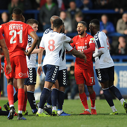 TELFORD COPYRIGHT MIKE SHERIDAN 23/3/2019 - RED CARD. Jobi McAnuff (captain) of Orient is furious after Matt Harrold of Orient is sent off after elbowing Shane Sutton of AFC Telford during the FA Trophy Semi Final fixture between AFC Telford United and Leyton Orient at the New Bucks Head