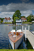 Henley on Thames, England, United Kingdom, 2nd July 2019, Henley Royal Regatta, Thames Slipper Launch, L'Amazon, moored by the floating grandstand, on Henley Reach, [© Peter SPURRIER/Intersport Image]<br /> <br /> 12:35:08 1919 - 2019, Royal Henley Peace Regatta Centenary,