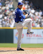 CHICAGO - APRIL 24:  Derek Holland #45 of the Texas Rangers pitches against the Chicago White Sox on April 24, 2016 at U.S. Cellular Field in Chicago, Illinois.  The White Sox defeated the Rangers 4-1.  (Photo by Ron Vesely)   Subject: Derek Holland