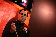 Ronnie O'Sullivan of England walks into the arena for his match against Tian Pengfei . Betvictor Welsh Open snooker 2016, day 2 at the Motorpoint Arena in Cardiff, South Wales on Tuesday 16th Feb 2016.  <br /> pic by Andrew Orchard, Andrew Orchard sports photography.