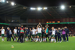 9 October 2017 -  2018 FIFA World Cup Qualifying (Group D) - Wales v Republic of Ireland - Republic of Ireland players, management and coaches celebrate reaching the playoff - Photo: Marc Atkins/Offside