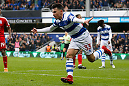 QPR forward Ilias Chair (33) celebrates his goal (score 2-1) during the EFL Sky Bet Championship match between Queens Park Rangers and Birmingham City at the Loftus Road Stadium, London, England on 28 April 2018. Picture by Andy Walter.