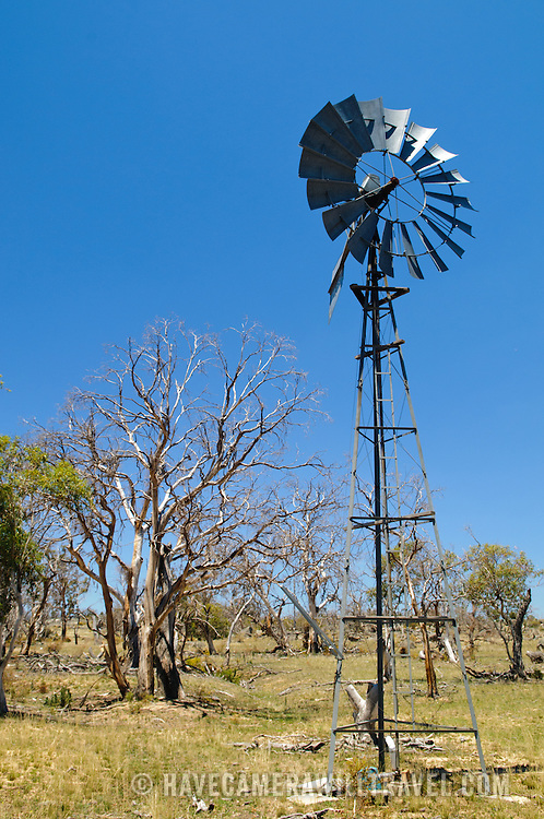 A windmill on a farm in the Australian outback