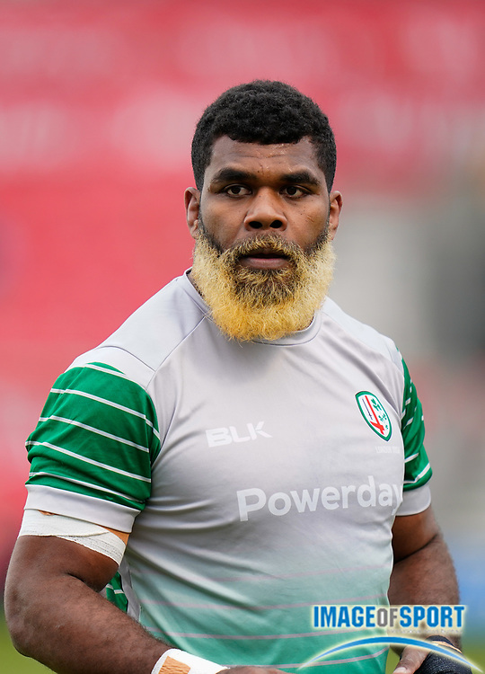 London Irish Back No.8 Albert Tuisue warms up before the game during a Gallagher Premiership Round 14 Rugby Union match, Sunday, Mar 21, 2021, in Eccles, United Kingdom. (Steve Flynn/Image of Sport)