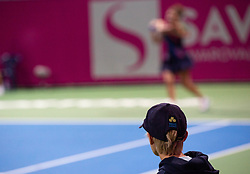 PORTOROZ, SLOVENIA - SEPTEMBER 18: Ball boy during the finals of WTA 250 Zavarovalnica Sava Portoroz at SRC Marina, on September 19, 2021 in Portoroz / Portorose, Slovenia. Photo by Nik Moder / Sportida