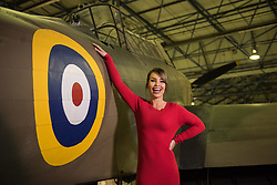 © Licensed to London News Pictures. 21/11/2018. London, UK.  <br /> TV presenter and Strictly Come Dancing star Katie Piper poses for a photograph in front of a Fairey Battle aircraft in the Royal Air Force Museum London to launch the National Lottery's Thanks To You campaign in London, England on November 21, 2018. The Thanks To You promotion which runs from December 3 until December 9 sees venues, which have received Lottery funding, offering free offers and/or free entry to people in possession of a National Lottery ticket. Some of the UK's best-loved venues will be taking part, including: the Natural History Museum, Science Museum, Kew Gardens, Eden Project, Jodrell Bank, the National Railway Museum, V&A Dundee, National Museum Wales and over 100 National Trust sites.  Photo credit: Oli Scarff/LNP