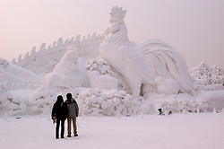 Couple looking at large snow sculpture of rooster at Harbin annual snow sculpture festival in northern China