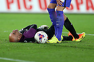 Manchester city goalkeeper Willy Caballero takes a knock. .EFL Cup. 3rd round match, Swansea city v Manchester city at the Liberty Stadium in Swansea, South Wales on Wednesday 21st September 2016.<br /> pic by  Andrew Orchard, Andrew Orchard sports photography.