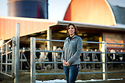 """ELDORADO, WI – FEBRUARY 2: Janet Clark poses for a portrait at Vision Aire Farms on February 2, 2017. Clark reached out to Senator Tammy Baldwin (D-WI) for assistance regarding companies using of the word """"milk"""" to describe plant-based beverages such as soy milk and almond milk."""