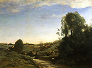 La Chouette - Souvenir of Marcoussis, near Monthlery': 1875, oil on canvas Jean Baptiste Camille Corot (1796-1875) French painter.