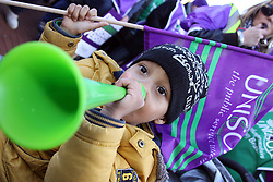 ©Licensed to London News Pictures. 30/11/2011.Northampton, Northamptonshire. Three year old Donte Williams at N30 rally march through Northampton town centre and demonstrates in the market square..Photo credit: Steven Prouse/ LNP.