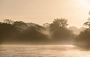Landscape with the San Juan River at sunrise and silhouetted trees, El Castillo, Rio San Juan Department, Nicaragua