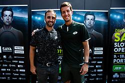 Aljaz Kosi president of ATP Portoroz 2019 with Aljaz Bedene Slovenian tennis player during ATP Press conference with Aljaz Bedene, on July 25th, 2019, in Ljubljansko kopalisce Kolezija, Ljubljana, Slovenia. Photo by Grega Valancic / Sportida