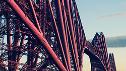 View of famous Forth Rail Bridge spanning the Firth of Forth between Fife and West Lothian in Scotland,United Kingdom.