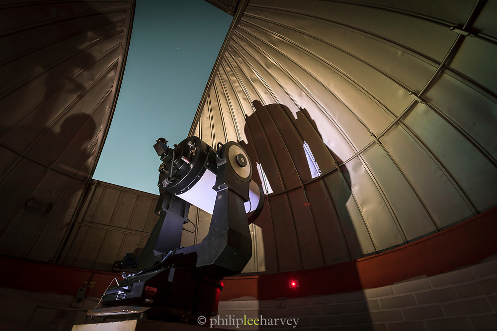 Low angle view of telescope at Mamalluca Observatory, Vicuna, Chile