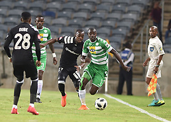 Justin Shonga of Orlando Pirates battle for the ball with Deon Hotto of Bloemfontein Celtic during the<br />ABSA premiership league at Orlando stadium, Soweto.<br />Picture: Itumeleng English/ African News Agency /ANA<br />04.04.2018