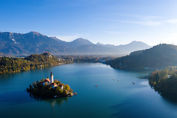 Aerial photos of Lake Bled, on October 22, 2019 in Bled, Slovenia. Photo by Matic Klansek Velej / Sportida