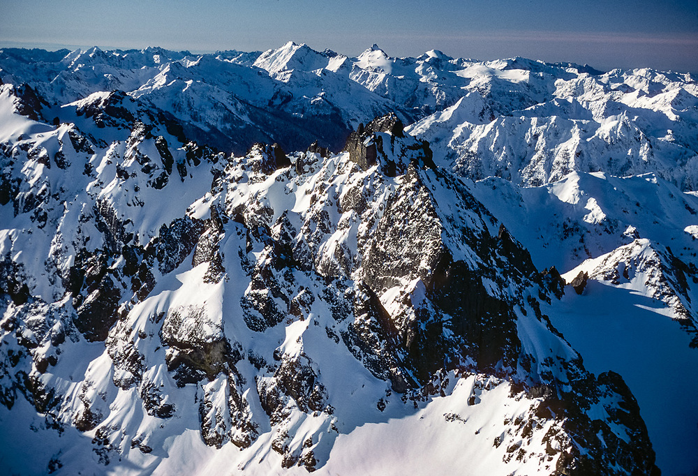 Aerial view of the Needles Peaks, morning light, winter, Olympic National Park, Washington, USA