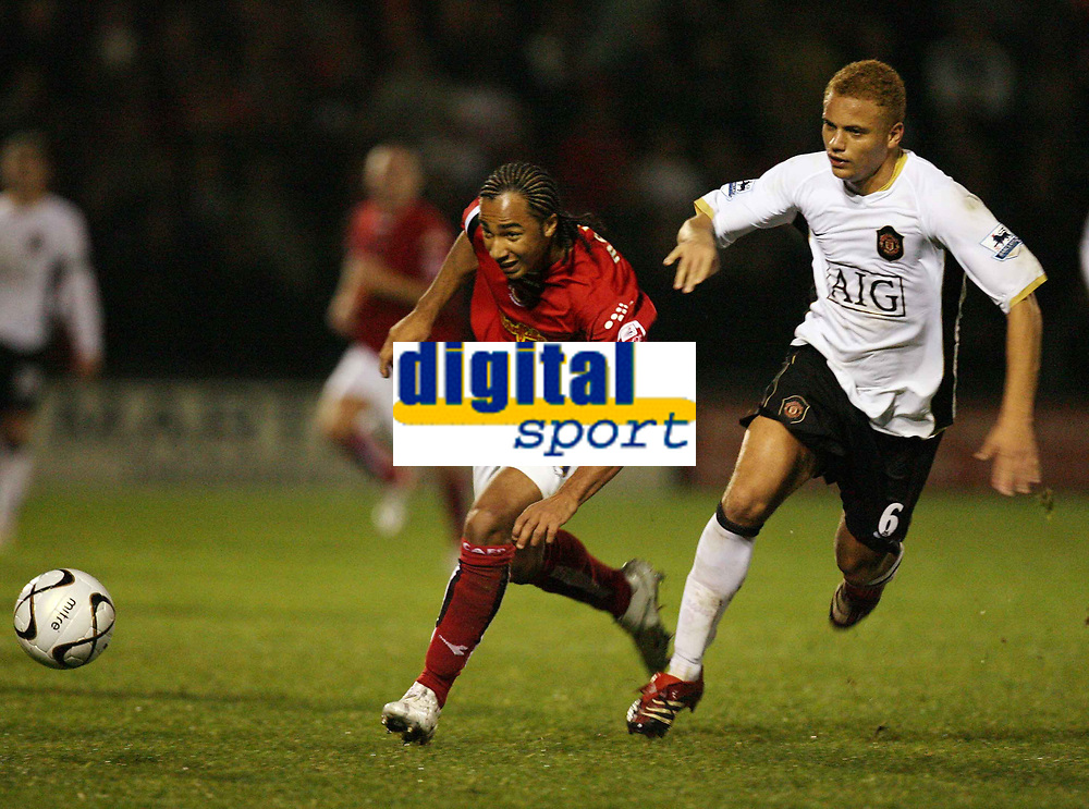 Photo: Rich Eaton.<br /> <br /> Crewe Alexander v Manchester United. Carling Cup. 25/10/2006. Nicky Maynard left of Crewe tries to outpace Man Uniteds Wes Brown right