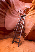 Ladder in lower Antelope Canyon, Navajo Indian Reservation, Arizona USA