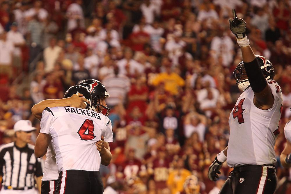 Landover, Md., Sept. 19, 2010 - Washington Redskins vs. Houston Texans - Neil Rackers celebrates the game-winning kick.